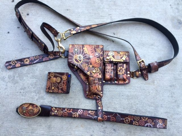 bdf0ca167c2 Buy a Custom Made Steampunk Shoulder Holster With Ammo Pouch ...