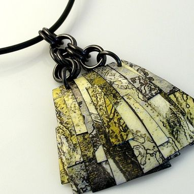 Custom Made Custom Polymer-Infused Collage Pendant On Leather Cord