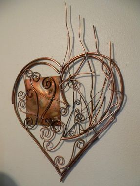 Custom Made Contemporary Copper Metal Art Abstract Heart