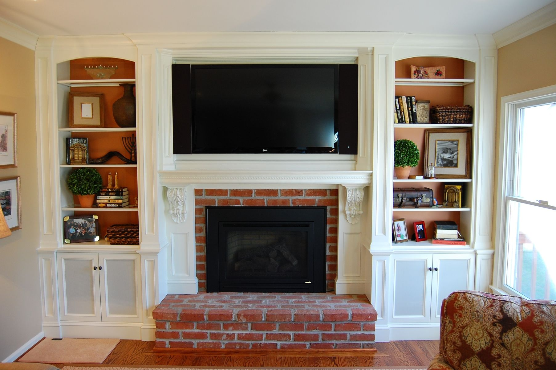 custom over mantel tv cabinetry by sjk woodcraft design