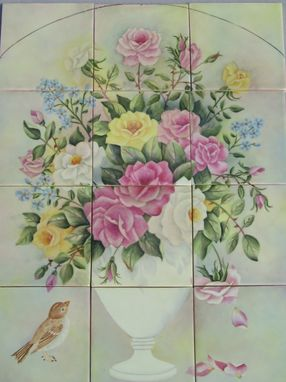 Custom Made Ceramic, 4x4, 12 Pc. Rose Mural.