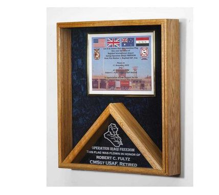 Custom Made Large Military Flag Shadow Box And Medal Display