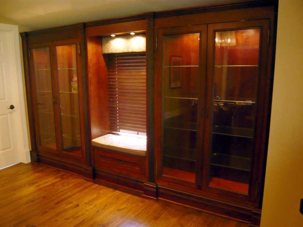 Custom Made Built In Cherry Display Cabinets