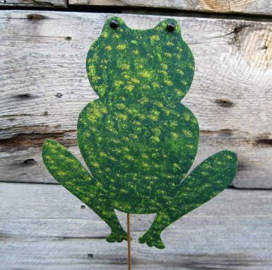 Custom Made Handmade Upcycled Metal Frog Garden Stake