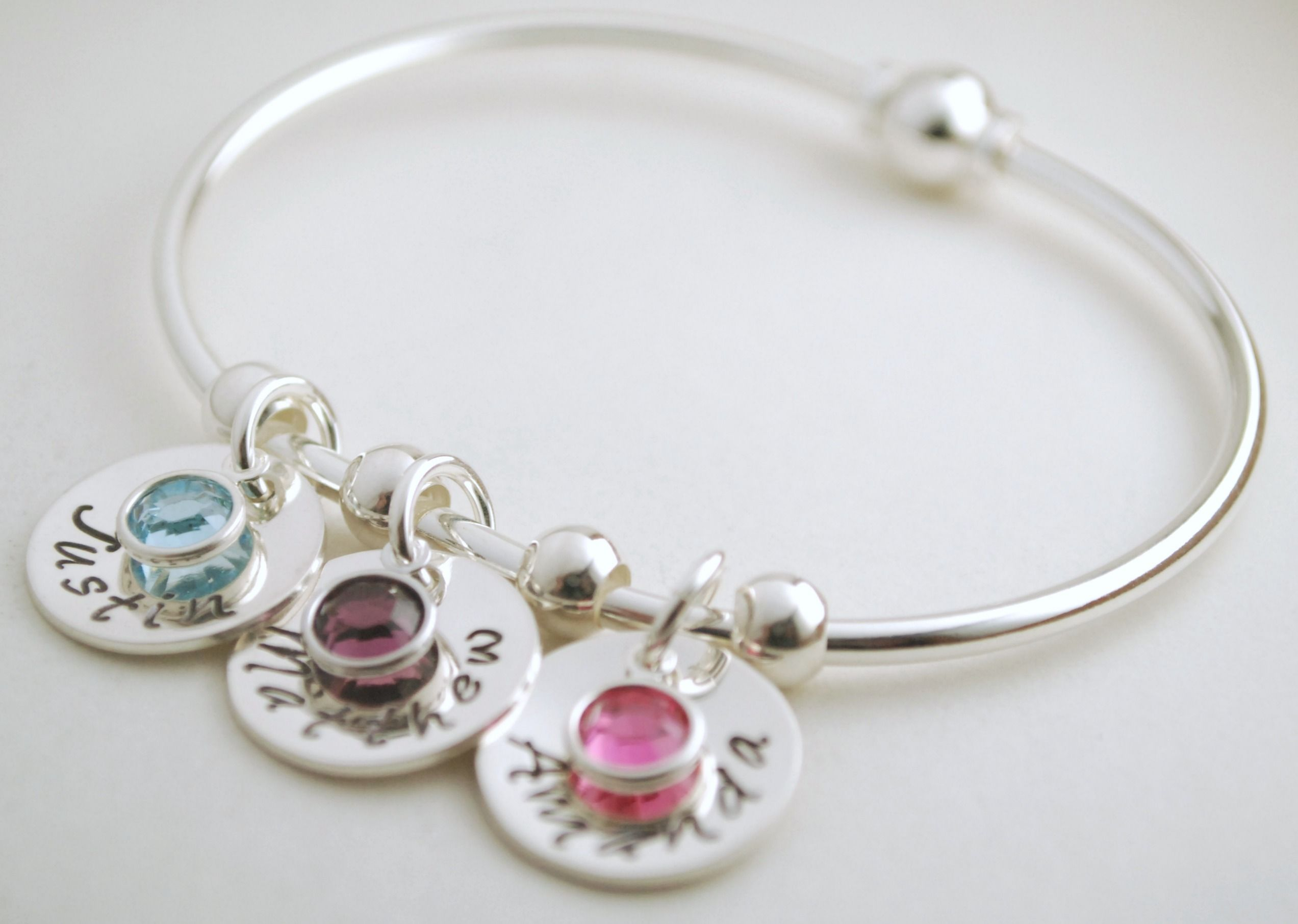 Buy a Hand Made Personalized Bangle Bracelet With Name Charms And