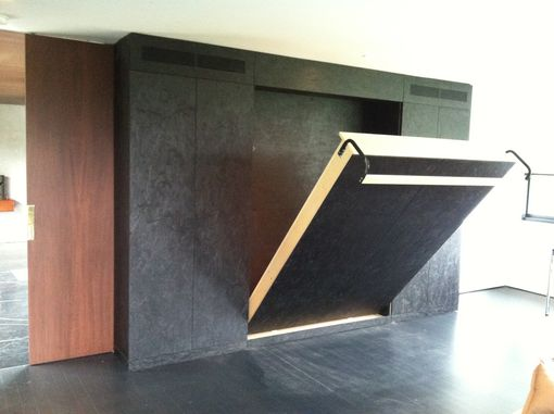 Custom Made Folding Murphy-Type Bed In Black Osb
