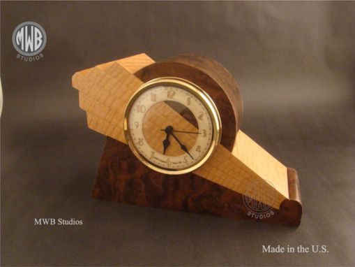 Custom Made Art Deco Styled Clock With Wood Dial