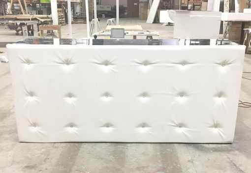 Custom Made White Tufted Leather Bar