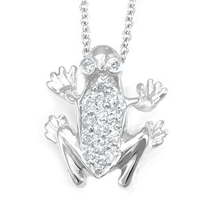 Custom Made Diamond Frog Pendant In 14k White Gold, Toad Pendant, Frog Pendant