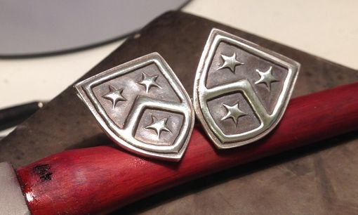 Custom Made Silver Cufflinks With Family Crest/Coat Of Arms