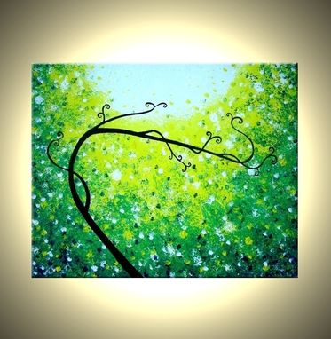 Custom Made Original Abstract Tree Painting, Palette Knife Art, Original Green Tree, Textured Landscape