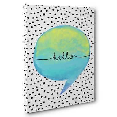 Custom Made Speaking Bubble Hello Canvas Wall Art