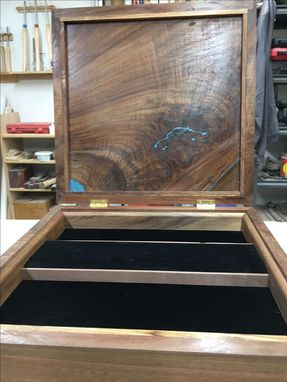 Custom Made Walnut Jewelry Box Live Edge Juniper With Turquoise Inlay