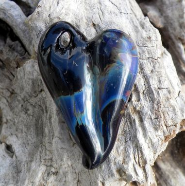 Custom Made Hand-Blown Glass Heart Pendant In Black And Purple
