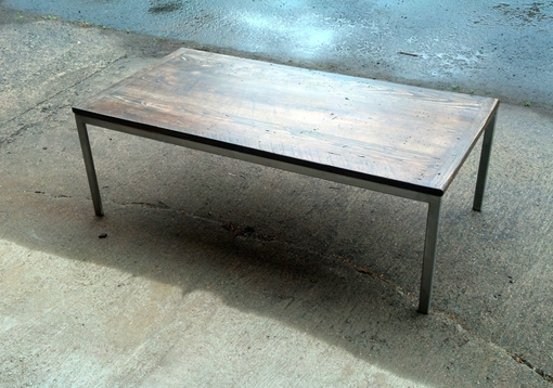 Custom Made Coffee Table Of Reclaimed Wood And Brushed Alloy Steel
