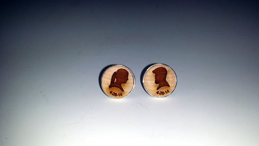 Custom Made Cufflink With Laser Engraved Silhouette