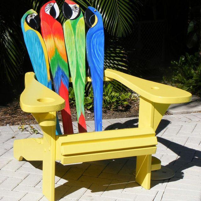 custom adirondack chair parrot design by island time design