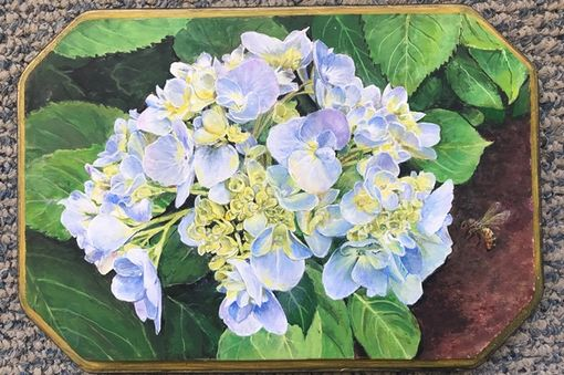 Custom Made Available Hydrangeas Inspriation On Wood Plaque Photorealism