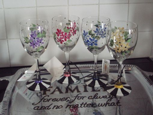 Custom Made Custom Hand Painted Daisy Floral Striped Black And White Glass - Stemware - Any Type Glass