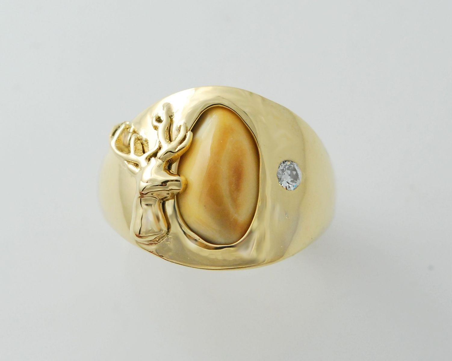 Hand Made 14kt Elk Ivory Mens Ring With .10ct Diamond by ...