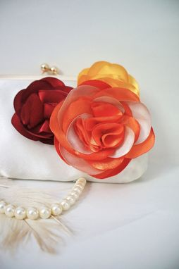 Custom Made Autumn-Inspired Clutch Purse With Handmade Flowers
