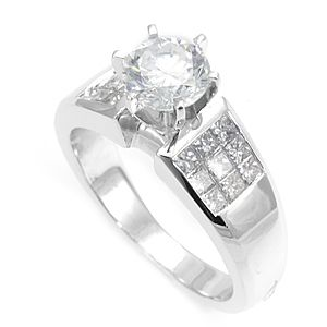 Custom Made 3 Row Princess Cut Diamond Engagement Ring In 14k White Gold, Proposal Ring