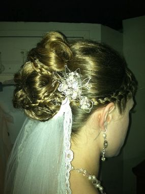 Custom Made Silver Fill Bridal Hairpiece With Veil