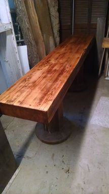 Custom Made Double Concrete Pedestal, & Laminated Pine Butcher Block Top Sofa Table