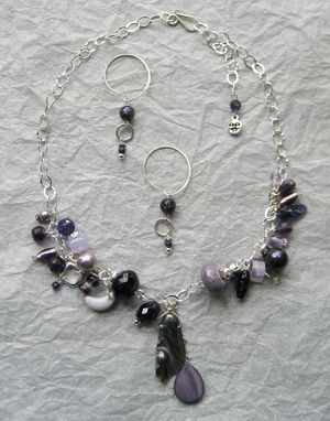 Custom Made Color Collage Necklace And Earrings Set, Purple