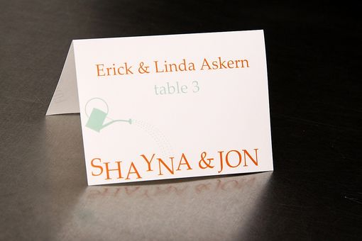 Custom Made Wedding Place Cards - Garden Watering Can - Escort Cards Favor Tags Custom Designed
