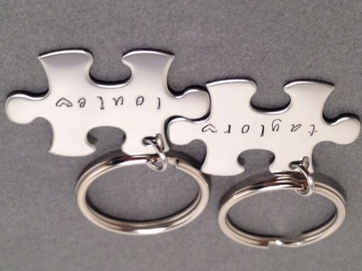 Custom Made Name Keychains Puzzle Piece Gift