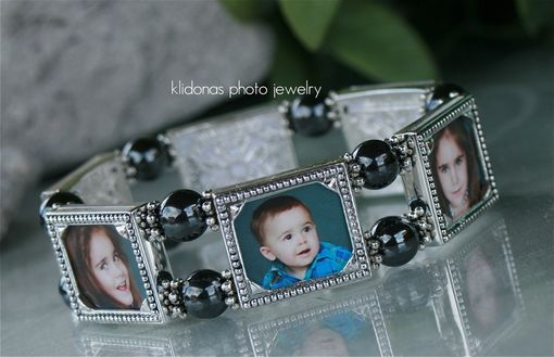 Custom Made Photo Bracelet Picture Jewelry, Beaded, Silver Frames, Holds Up To Six Pictures