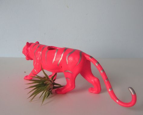 Custom Made Upcycled Toy Planter - Neon Pink Tiger With Silver Stipes And Air Plant