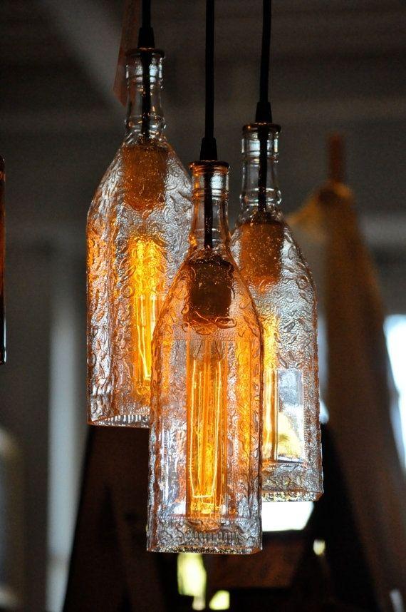 Custom made recycled bottle pendant lamp seagrams bottle custom made recycled bottle pendant lamp seagrams bottle chandelier with edison lightbulb aloadofball Choice Image