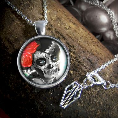 Custom Made Platinum Edition Day Of The Dead Girl Sterling Silver Necklace 62-Srpn