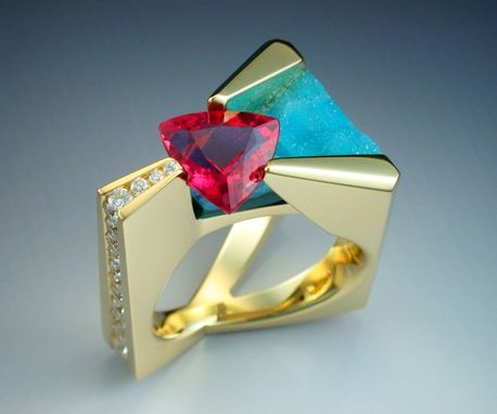 Custom Made 18k Gold Ring With Tourmaline, Diamonds And Druse Chrysocolla