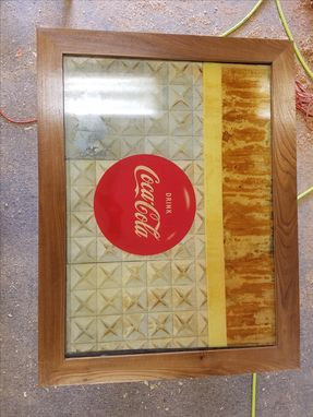 Custom Made Old Coca Cola Framed Glass