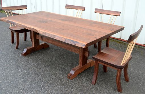 Custom Made Live Edge Walnut Trestle Table And Spindle Chairs