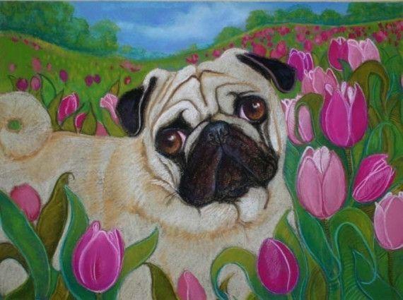 Hand Made Custom Oil Pastel Pug Portrait 9 X 12 Painting