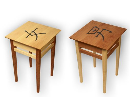 Custom Made Pair Of His And Hers Bedside Tables
