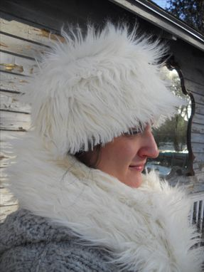 "Custom Made White Faux Fur Hat And Scarf, 72"" Long, 6"" Wide"