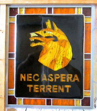 Custom Made Russian Wolfhound Change Of Command Panel - Fused Glass Panel Wth Stained Glass Border