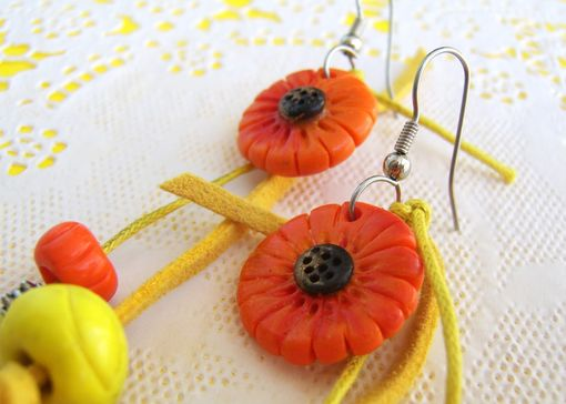 Custom Made Orange And Yellow Leather Earrings - Flowers And Beads Hand-Crafted In Polymer Clay