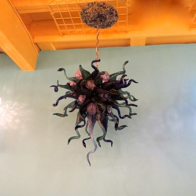 Custom Made Hand Blown Glass Chandelier - Cobalt Teal Purple - Lighting - Chandelier - Art Glass Lighting