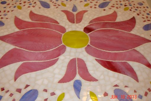 Custom Made Mosaic Stained Glass Serving Tray With Pink Flower