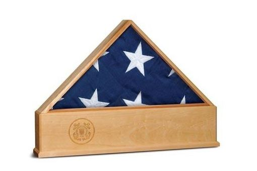 Custom Made Oak Us Flag Display Case With Engraved Us Coast Guard Emblem