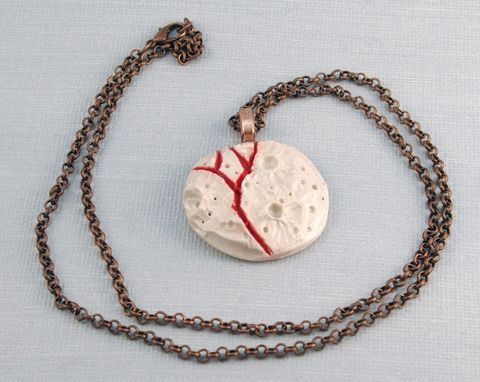 Custom Made Ceramic Moon Necklace, Carved Porcelain Moon Necklace In Red And White