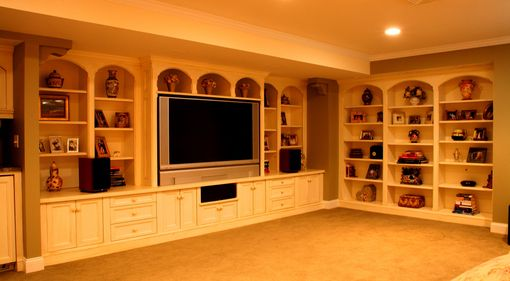 Custom Made Entertainment Center And Library