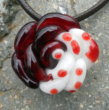 Custom Made Red And White Polka Dots Glass Rose Necklace
