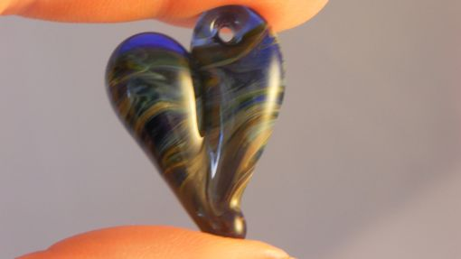 Custom Made Amber And Black Hand-Blown Glass Heart Pendant